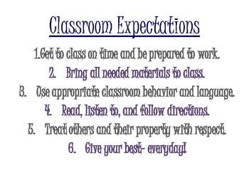 Classroom Expectations Printout