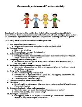 Classroom Expectations-Procedures Activity