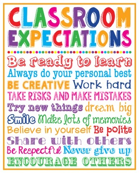 Classroom Expectations Rules Poster Sign Printable School