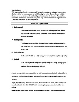 Classroom Expectations and Contract for behavior
