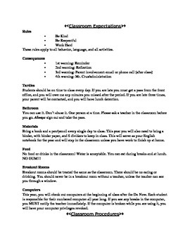 Classroom Expectations and Procedures Middle School