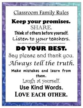 Classroom Family Rules
