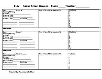 Classroom Form-Small Group Instruction
