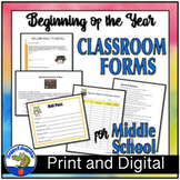 Beginning of the Year Classroom Forms for Middle School Teachers