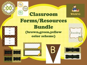Classroom Forms/Resources BUNDLE (green,brown,yellow theme