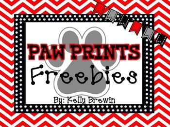 Classroom Freebies Black & White Paw Print Set