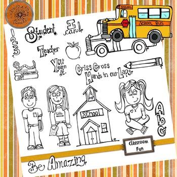 Classroom Fun - Hand drawn - Original Line Art