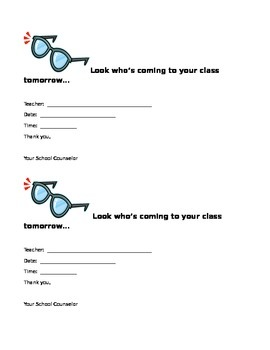 Classroom Guidance Lesson Notice