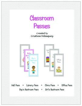 Back to School Classroom Hall Passes