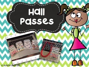 Classroom Hall Passes **Chevron Themed**