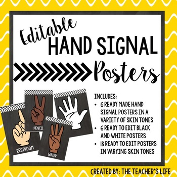 Classroom Hand Signal Posters! *Editable!