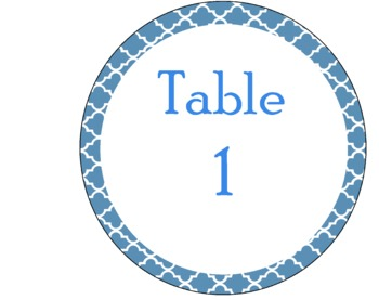 Table Signs Blue Moroccan (Middle School Minions)