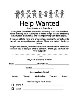 Classroom Help Wanted Sign