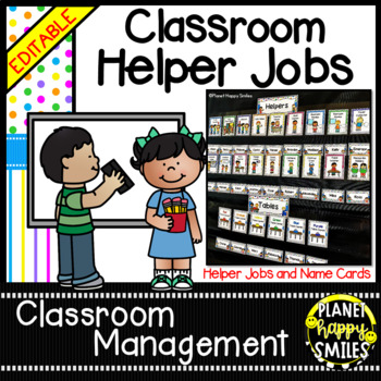 Classroom Helper Jobs (EDITABLE) ~ Bright Polka Dots & Stripes