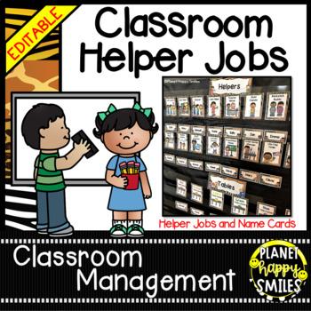 Classroom Helper Jobs (EDITABLE) ~ Jungle Print Theme (no