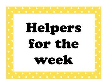 Classroom Helper Jobs Polka Dot Theme