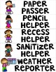 Classroom Helper Signs with EDITABLE FILE