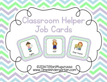 Classroom Helper and Job Cards Spring Chevron