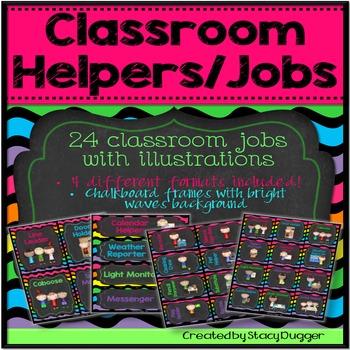 Classroom Helpers/Jobs (Chalkboard and Bright Chevron)