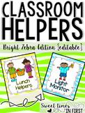 Classroom Helpers Kit for a Class Jobs Board Zebra Print Theme