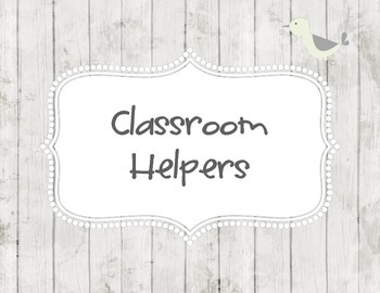 Classroom Helpers on White Washed Wood paper