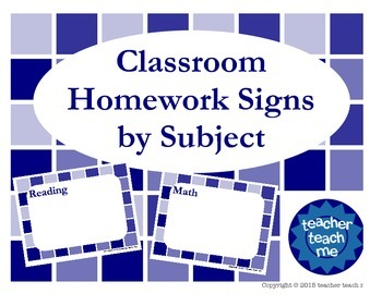 Classroom Homework Signs by Subject