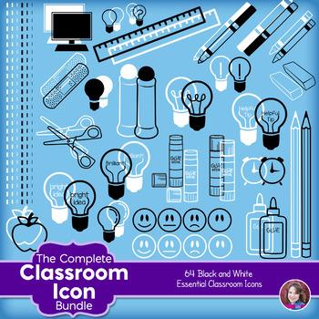 Classroom Icon Clipart - black and white