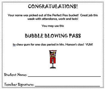 "Classroom Incentives: ""Perfect Passes"""