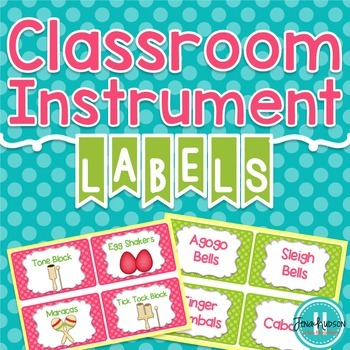 Classroom Instrument Labels with Polka Dots-Pink, Lime gre