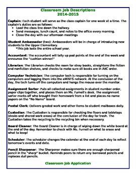 Classroom Job Application and Description *EDITABLE*