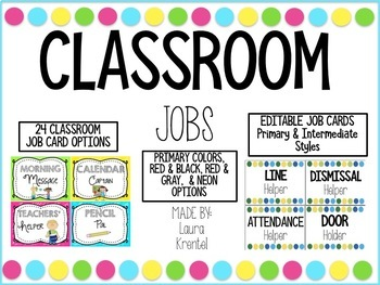 Classroom Job Cards (Primary & Neon Frames)