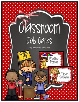 Classroom Job Cards Red & White