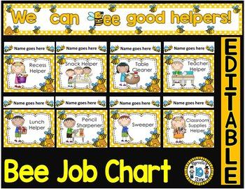 Classroom Job Chart - EDITABLE (BEE THEME CLASSROOM JOB CHART)