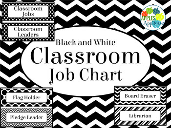Classroom Job Chart in Black and White Theme