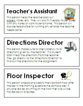 Classroom Job Descriptions & Class Job Application (Both E
