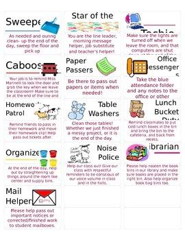 Classroom Job Labels - Editable