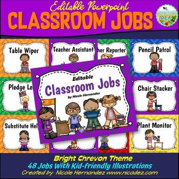Classroom Jobs {EDITABLE Bright Chevron Themed}