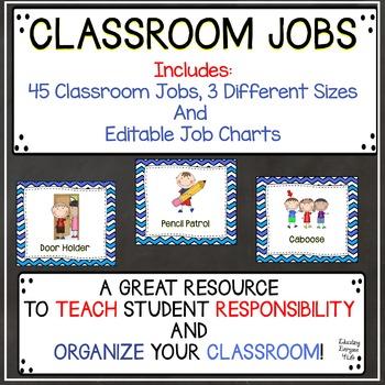 Classroom Jobs Blue Chevron