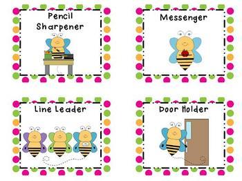 Classroom Jobs Bees and Polka Dots