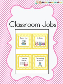 Classroom Jobs -Chevron and Owls