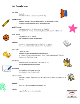 Classroom Jobs - Customizable