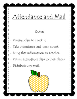 Classroom Jobs Duty Posters and Appplication Form