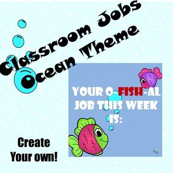 Classroom Jobs - Editable - Ocean Theme