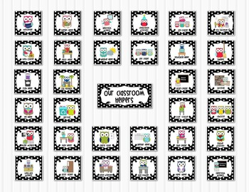 Classroom Jobs Helpers - Owls in Black and White Polka Dot