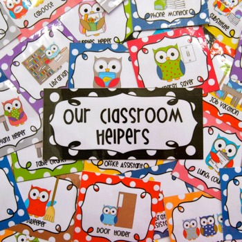 Classroom Jobs Helpers - Owls in bright multicolored polka