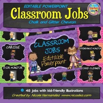 Classroom Jobs - {EDITABLE Glitter, Chalk and Chevron Themed}