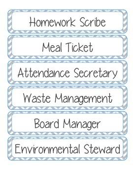Printable: Classroom Jobs Labels