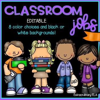 EDITABLE Classroom Jobs Labels (Black and Bright Colors)