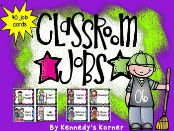 Classroom Jobs ~ Melonheadz Theme  and Bright Colors
