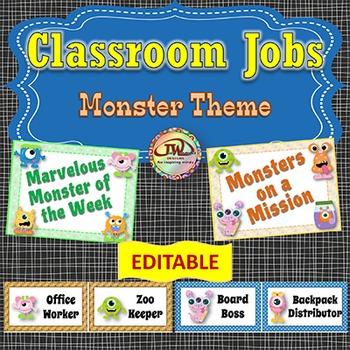 Classroom Jobs Cards EDITABLE Monsters Theme